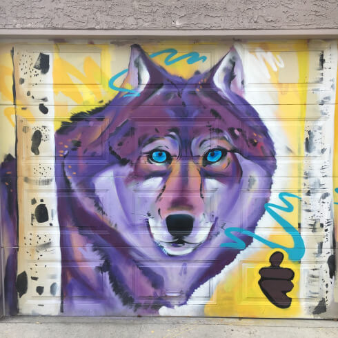 Blue Eyed Wolf Street Art